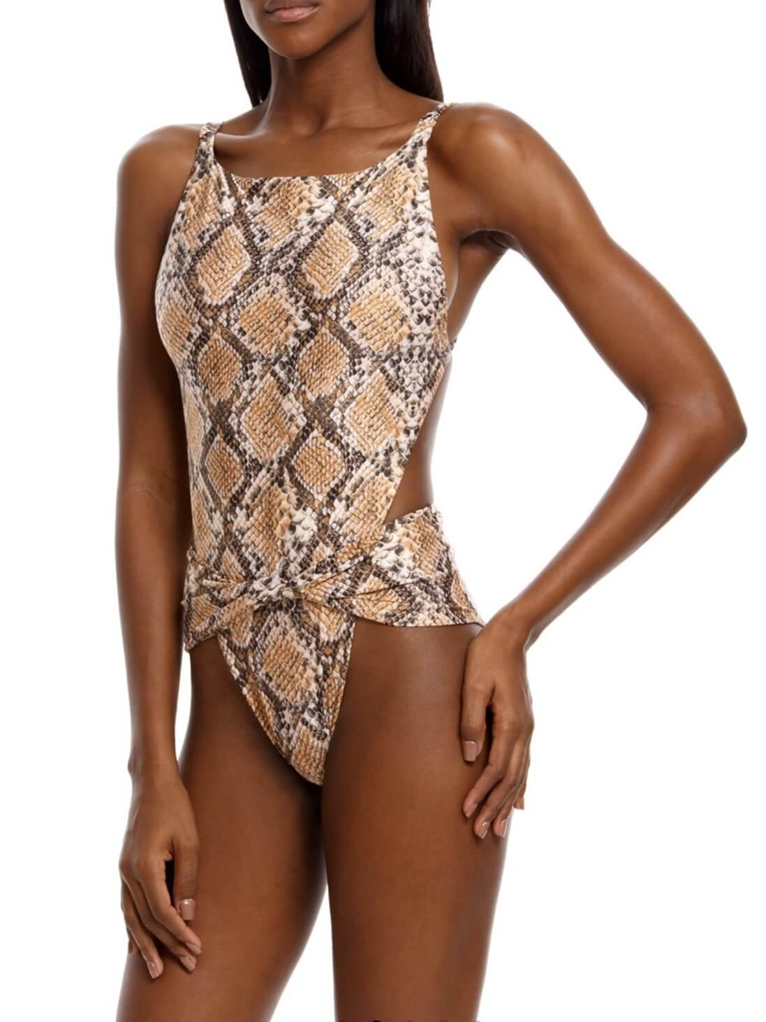 Agua Bendita Bronzo Angela swimsuit in snakeskin fabric with knot detail on the front