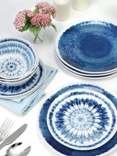 Boho blue dinnerware set consisting of large plates, small salad plates and soup plates