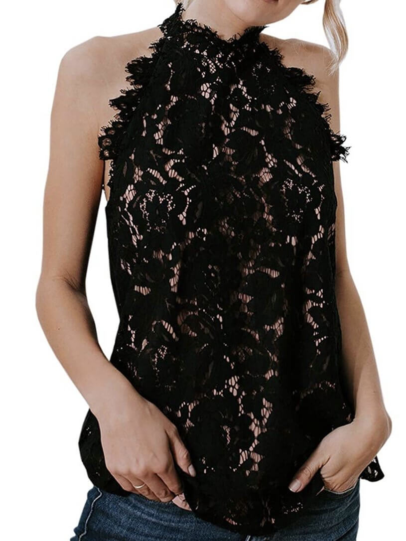 black lace top, sleeveless and high neck