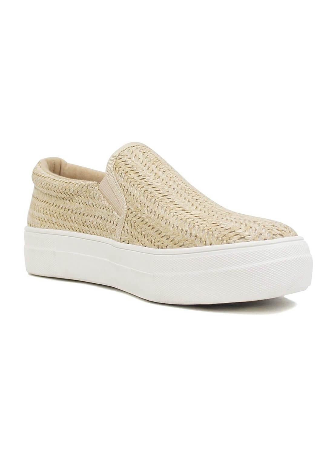 beige slip-on sneakers with white rubber sole