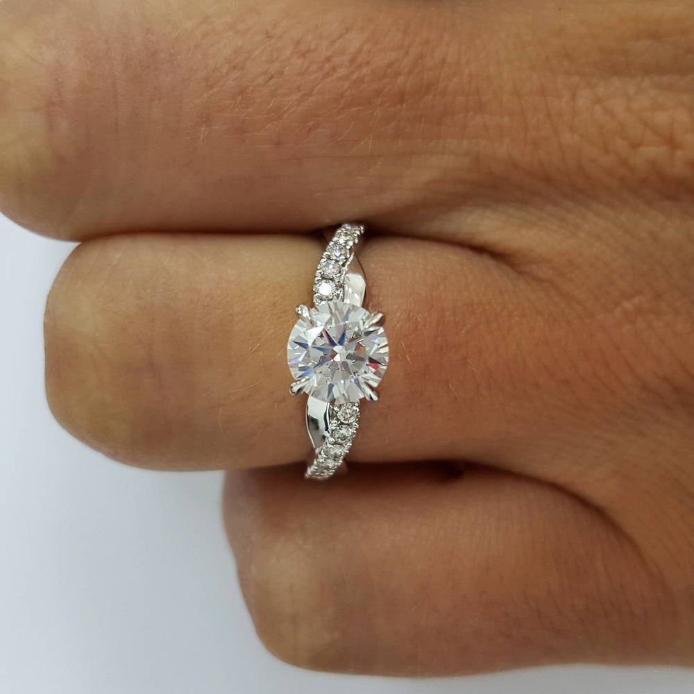 1.0CT Art Deco Halo Round Cut Sterling Silver Engagement Ring