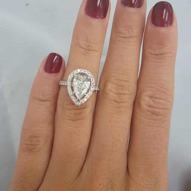 1.5CT Halo Pear Cut Sterling Silver Engagement Ring