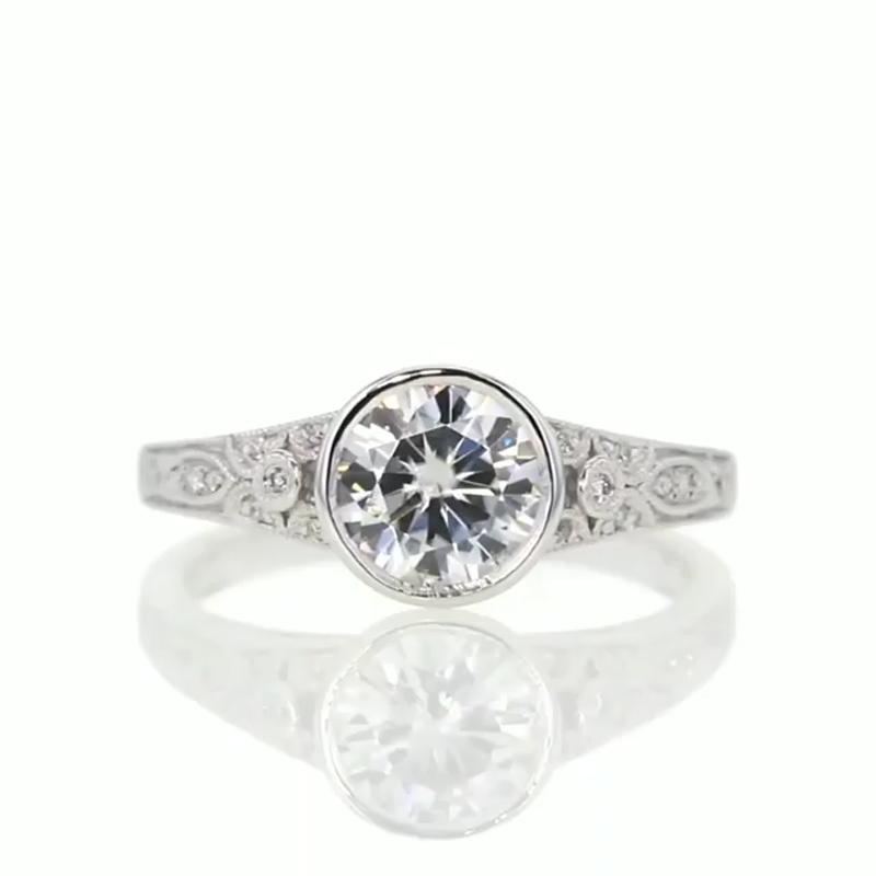 1.0CT Vintage Solitaire Round Cut Sterling Silver Engagement Ring