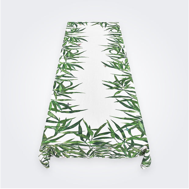 Les Palmiers Leaf Linen Tablecloth, Green