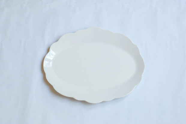 Melamine Cream Scallop  Oval Serving Platter