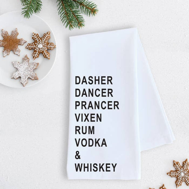 Dasher Dancer Prancer Vixen Rum, Vodka & Whiskey Tea Towel