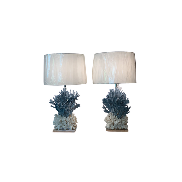 Blue Coral Lamps -Pair