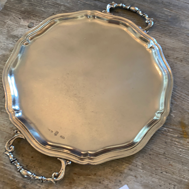 Round Pewter Lexington Tray With Handles