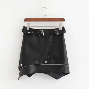 Get Scored ™ -  Sexy Assymetric faux leather skirt with zip. - Destiny Bargain