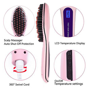 Ceramic LCD Display Hair Straightener Brush - Destiny Bargain