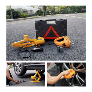 Portable 12V Car Jack 3T Electric Jack Auto Lift Scissor Jack Electric Wrench Impact Socket Wrench Auto Tyre Change - Destiny Bargain