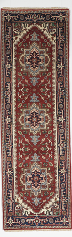 Traditional Hand Knotted Red Navy Blue Multicolor Runner Rug 2'6 x 8'1 - IGotYourRug