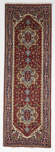 Traditional Hand Knotted Red Navy Blue Multicolor Runner Rug 2'8 x 8' - IGotYourRug