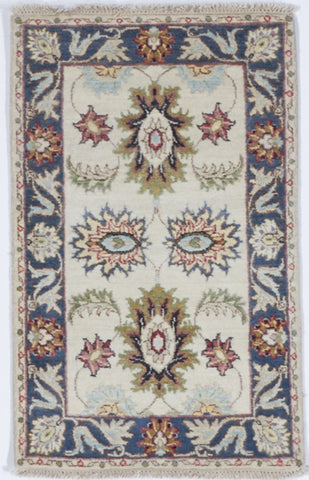 Chobi Hand Knotted White Multicolor Wool Rug 2' x 3'2