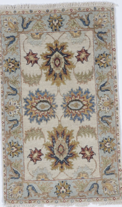Chobi Hand Knotted White Green Wool Rug 2' x 3'4