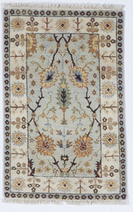 Oushak Hand Knotted Green White Wool Rug 2' x 3'2