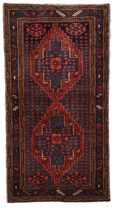 Bijar Hand Knotted Blue Red Wool Rug 2'6 x 4'9