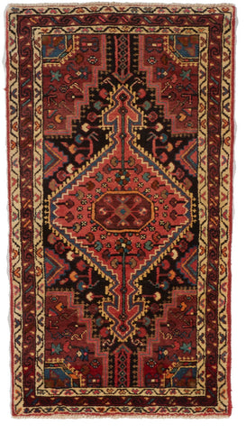 Traditional Hand Knotted Red Multicolor Wool Rug 2'7 x 4'10