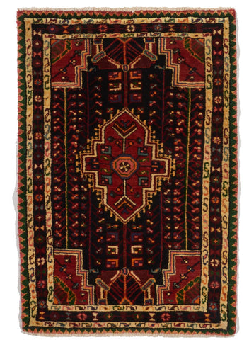 Traditional Hand Knotted Red Multicolor Wool Rug 2'9 x 4'2