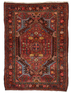 Traditional Hand Knotted Orange Rust Multicolor Wool Rug 3'1 x 4'2