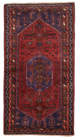 Traditional Hand Knotted Red Purple Multicolor Wool Rug 2'9 x 5'1