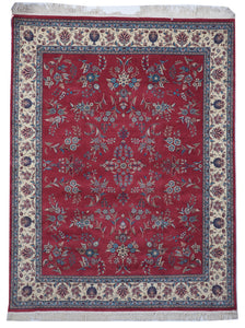Traditional Hand Knotted Red Multicolor Wool Rug 7'11 x 10'3 - IGotYourRug