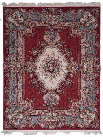 Traditional Hand Knotted Red Ivory Multicolor Wool Rug 7'10 x 10' - IGotYourRug