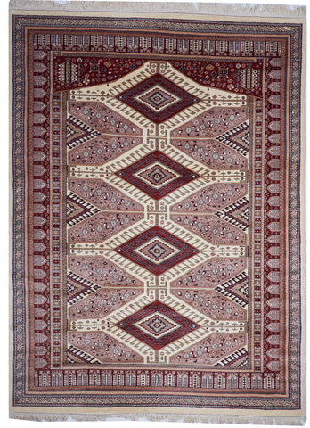 Traditional Hand Knotted Red Ivory Wool Rug 8'6 x 11'5 - IGotYourRug