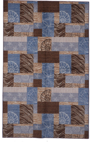 Coastal Shells Transitional Machine Made Blue Brown Rug 5' x 8'