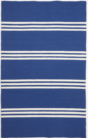 Indoor/Outdoor Coastal Stripes Machine Made Blue White Rug 5' x 8' - IGotYourRug