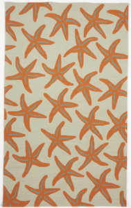 Indoor/Outdoor Coastal Starfish Machine Made Multicolor Orange Rug 5' x 8' - IGotYourRug