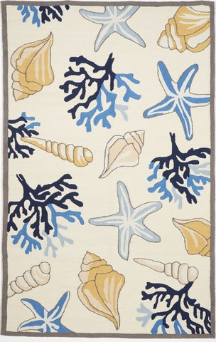 Indoor/Outdoor Coastal Machine Made White Multicolor Rug 5' x 7'6 - IGotYourRug