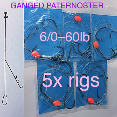 5x 3 HOOK GANGED 6/0 paternoster rigs 60lb,fishing snapper jew boat beach surf
