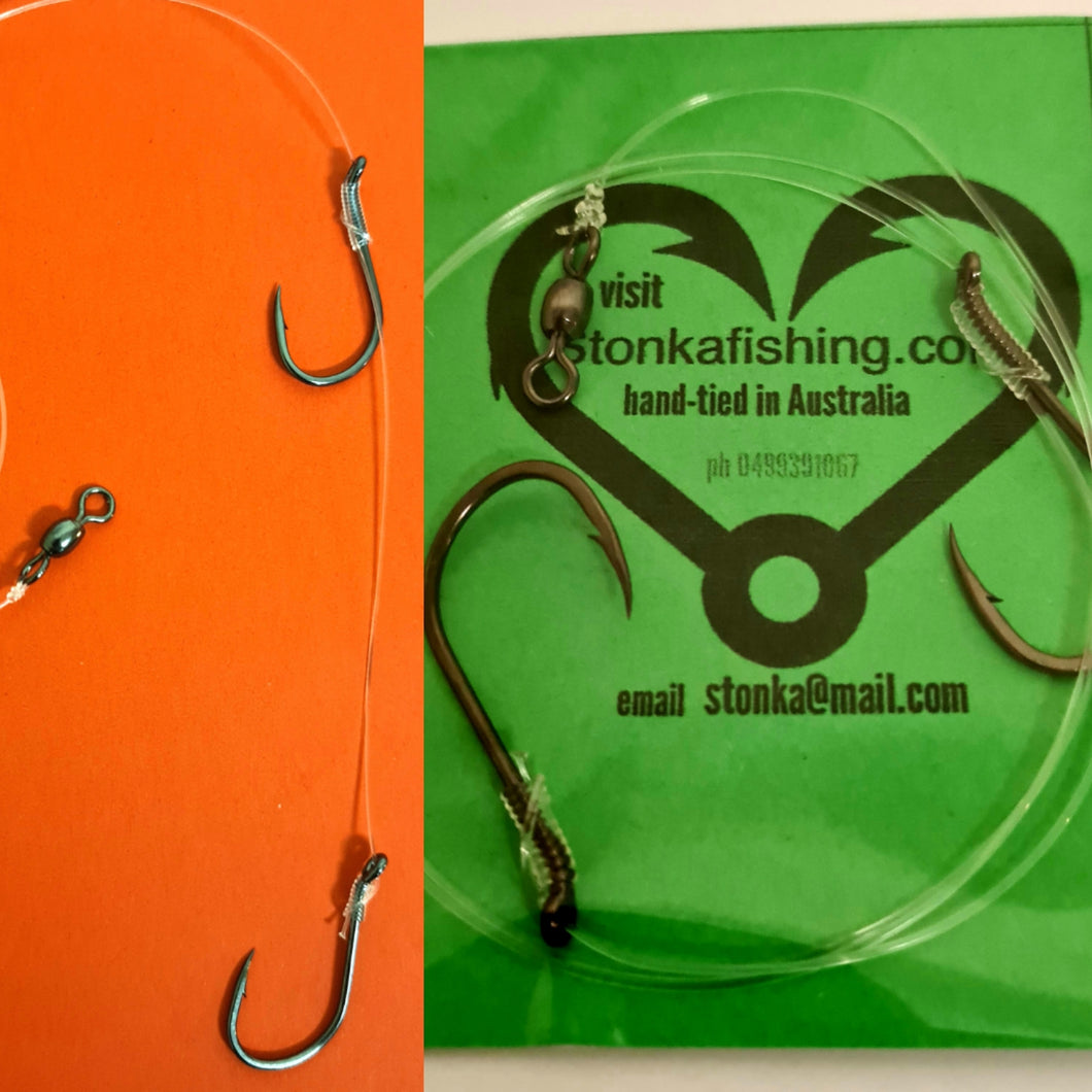 5x Twin Hook 4/0-50lb Running Snell Rigs,Hand Tied, Live / Dead Bait,Aussie made