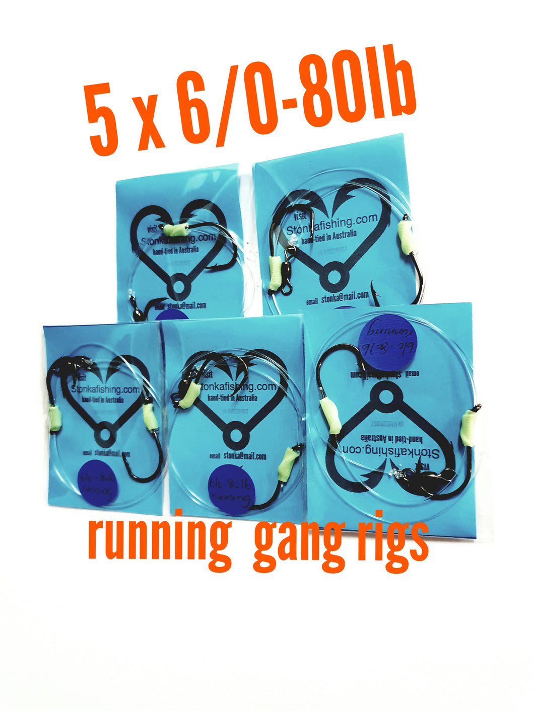 5x running gang rigs 6/0-80lb,fishing lumo snapper jew boat beach kingfish shark