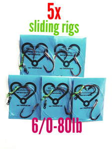 5x sliding adjustable gang rigs 6/0-80lb,fishing lumo snapper jew,mackerel kingfish shark