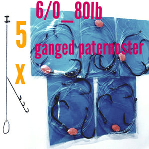 5x 3 HOOK GANGED 6/0 paternoster rigs 80lb,fishing snapper jew boat beach surf rig