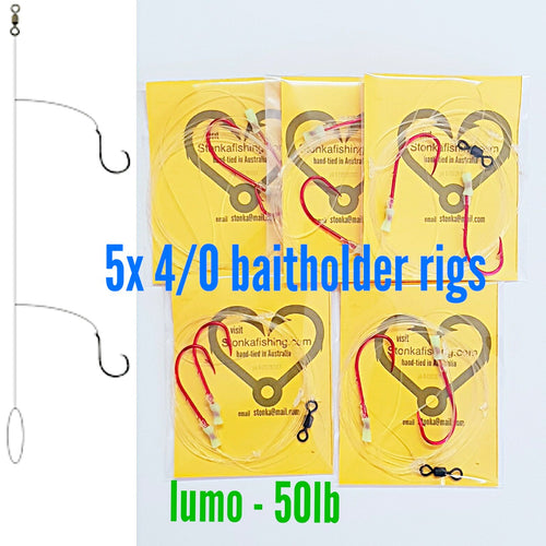 5x paternoster rigs 4/0 Baitholder,50lb,fishing lumo snapper jew boat beach Aussie made