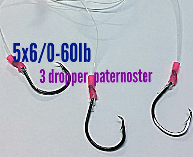 5x 3 Drop paternoster rigs 60lb 6/0 circle,fishing lumo snapper jew boat beach