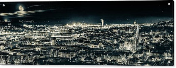 Panorama of Trondheim with Moonrise (Blue Mood)