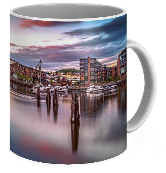 A Midnight Sunset Over Solsiden And Verftsbrua  (Coffee Mug)