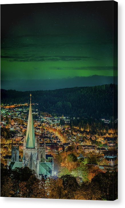 Aurora Over Nidaros Cathedral With Autumn Colors