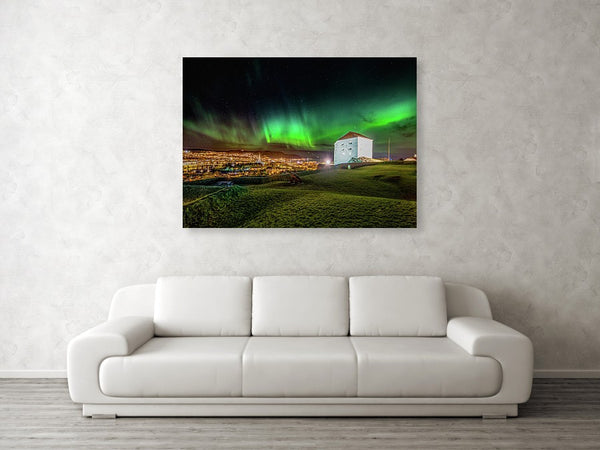 Beautiful Aurora Over Festningen in Trondheim Gallery Print