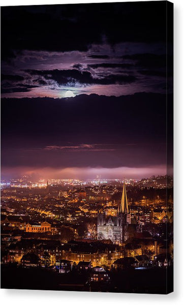 Moon Over Trondheim In A Misty Mood