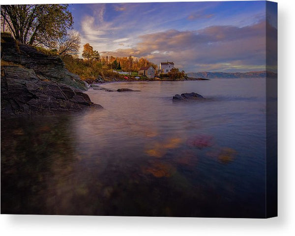 A Beautiful Autumn Sunset Over Trondheimfjorden From Ladestien Norway