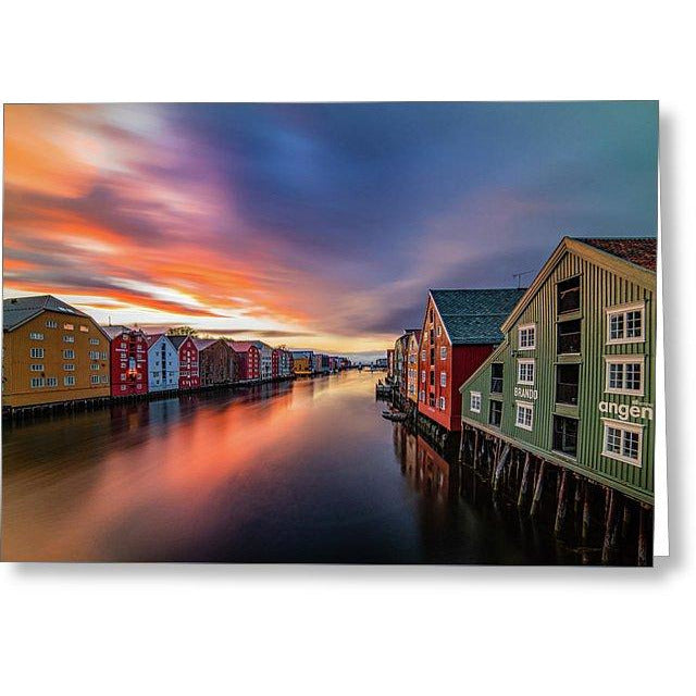 Gorgeous Colors Before Rain In Trondheim   - Greeting Card