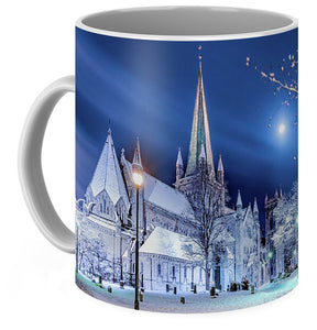 Nidarosdomen and Moon in a Beautiful Winter Mood (Coffee Mug)