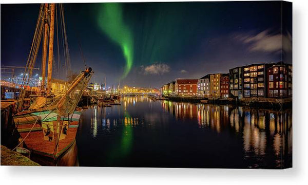 The amazing night Panorama over Trondheim's Canal with Northern