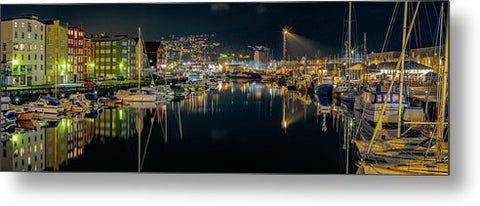 The beautiful night Panorama over Trondheim's Canal
