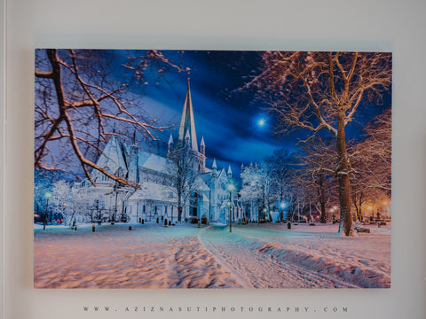 Nidarosdomen and Moon in a Beautiful Winter Mood Gallery Print (2 sizes)